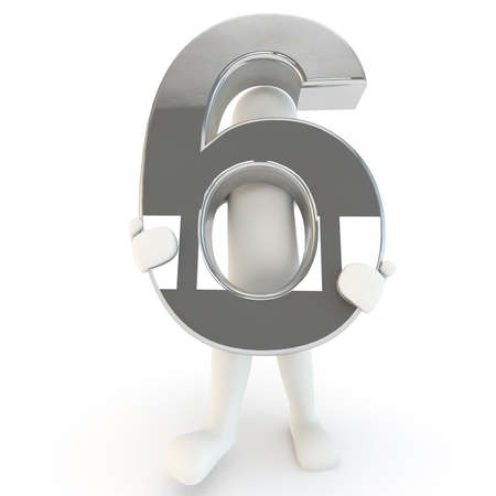 other keywords: 3D Human character holding silver number six, 3D render, isolated on white