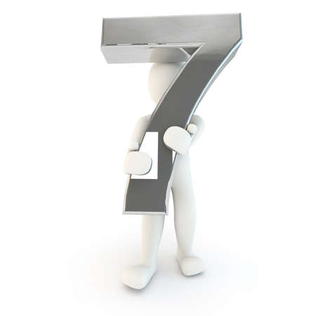 other keywords: 3D Human character holding silver number seven, 3D render, isolated on white Stock Photo