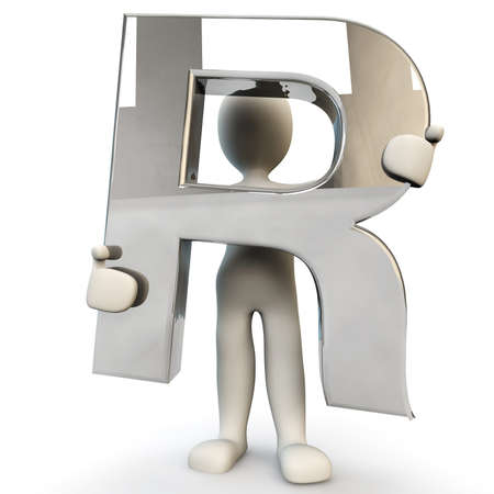 other keywords: 3D Human character holding silver alphabet letter R, 3d render, isolated on white Stock Photo