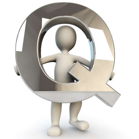 other keywords: 3D Human character holding silver alphabet letter Q, 3d render, isolated on white