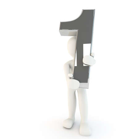 other keywords: 3D Human character holding silver number one, 3d render, isolated on white Stock Photo