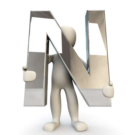 other keywords: 3D Human character holding silver alphabet letter N, 3d render, isolated on white