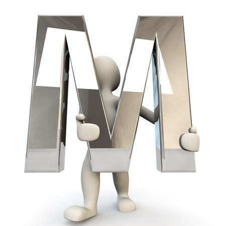 other keywords: 3D Human character holding silver alphabet letter M, 3D render, isolated on white Stock Photo