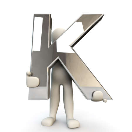 other keywords: 3D Human character holding silver alphabet letter K, 3D render, isolated on white Stock Photo