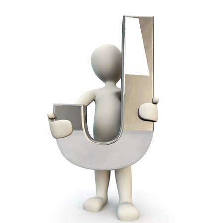 other keywords: 3D Human character holding silver alphabet letter J, 3D render, isolated on white