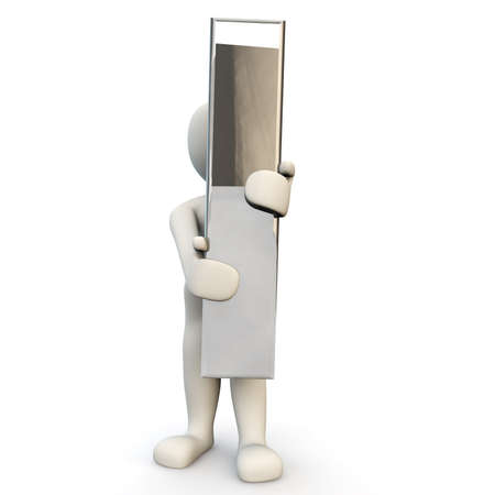 other keywords: 3D Human character holding silver letter I, 3D render, isolated on white