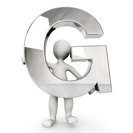 other keywords: 3D Human character holding silver alphabet letter G, 3d render, isolated on white