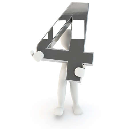 other keywords: 3D Human character holding silver number four, 3d render, isolated on white