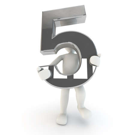 other keywords: 3D Human character holding silver number five, 3d render, isolated on white Stock Photo