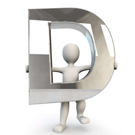 other keywords: 3D Human character holding silver letter D, 3d render, isolated on white