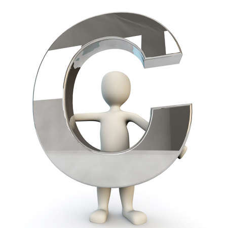 other keywords: 3D Human character holding silver letter C, 3d render, isolated on white Stock Photo