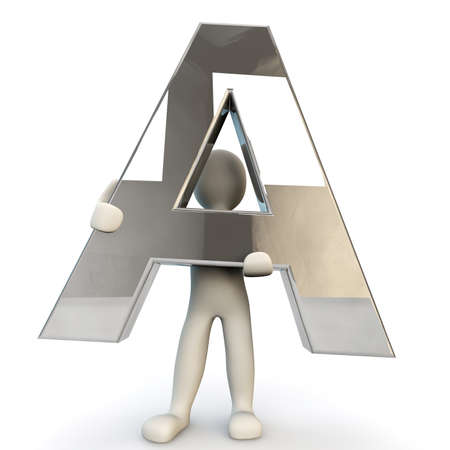 other keywords: 3D Human character holding silver letter A, 3d render, isolated on white