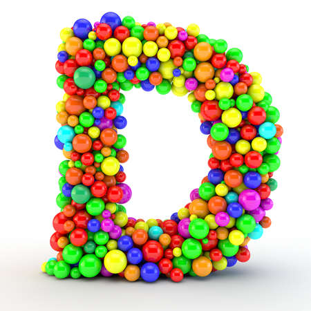3D rendered letter, made of colorfull shine candy balls
