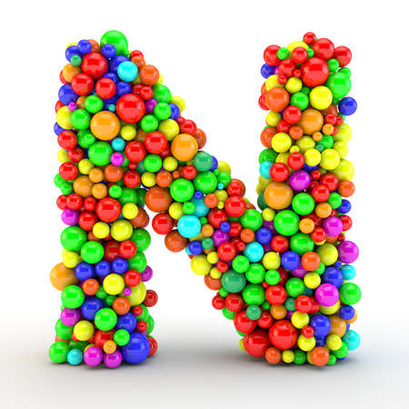 3D rendered letter, made of colorfull shine candy balls 版權商用圖片