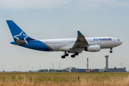 C-GITS, July 11, 2019, Airbus A330-243-0271 landing on the runways of the Paris Roissy Charles de Gaulle airport at the end of the Air Transat TS356 flight from Montreal