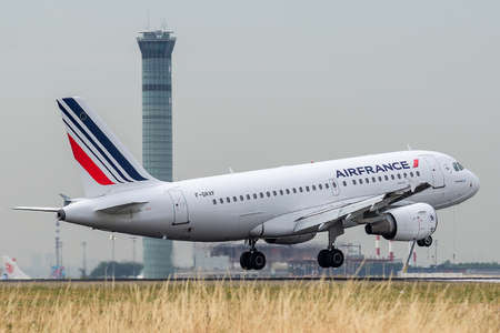 F-GRXF, July 11, 2019, Airbus A319-111-1938 landing at Paris Charles de Gaulle airport at the end of the flight Air France AF1395 from Budapest. Control tower in the background.