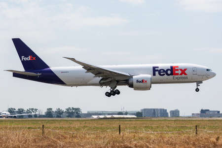 N852FD Boeing 777-FS2-37723 on July 11, 2019, landing on the Paris Roissy Charles de Gaulle runways at the end of the FedEx FX5030 flight from Cologne Editorial