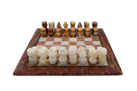 Turkish chess carved in marble by a craftsman and isolated on white background Standard-Bild