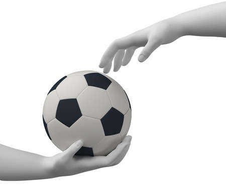 Football in the hands photo