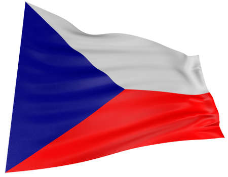 czech culture: 3D Czech flag with fabric surface texture. White background.