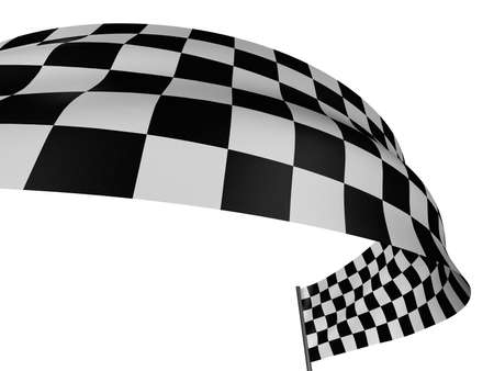 Large Checkered Flag with fabric surface texture. White background. Stock Photo