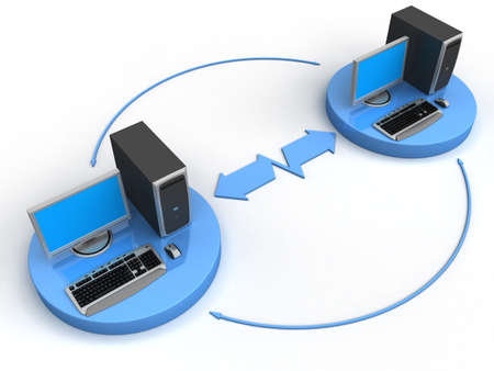 Image of computer network. White background. Stock Photo