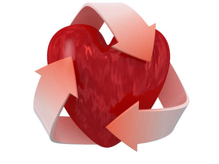 Image of 3d recycle sign with heart. White background. photo