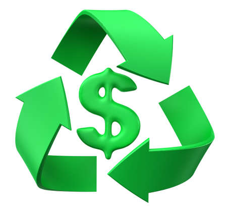 Image of 3d recycle sign with dollar. White background. photo