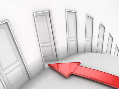 Image of doors and arrow Stock Photo