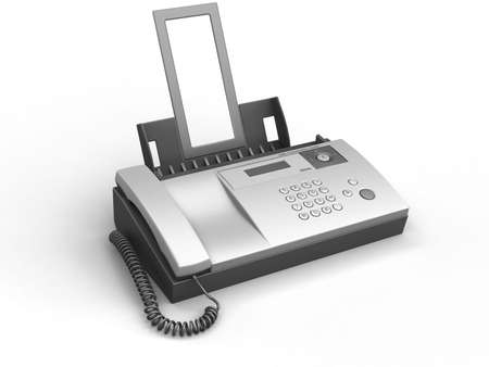 3d image of fax. White background. Stock Photo