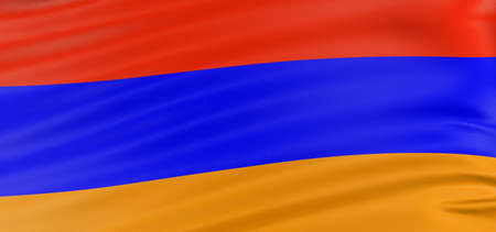 armenian: 3D Armenian flag with fabric surface texture. White background.
