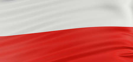 polish flag: 3D Polish flag with fabric surface texture. White background.