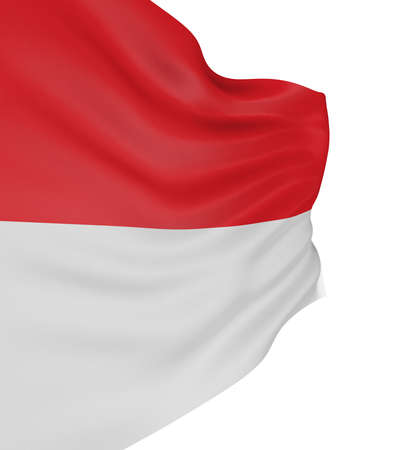 the indonesian flag: 3D Indonesian flag with fabric surface texture. White background.