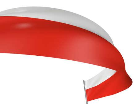 bandera de polonia: 3D pabell�n polaco tejido con textura de superficie. Fondo blanco.