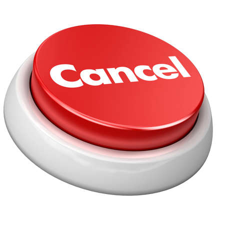 3d image of button Cancel. White background.