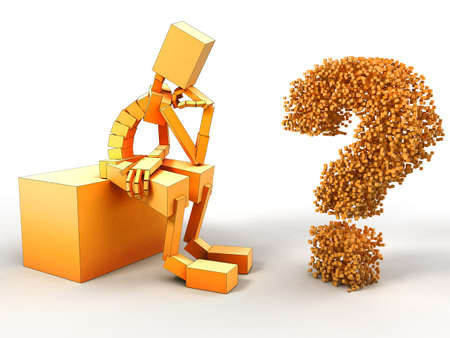3d image of man and question. White background. Stock Photo