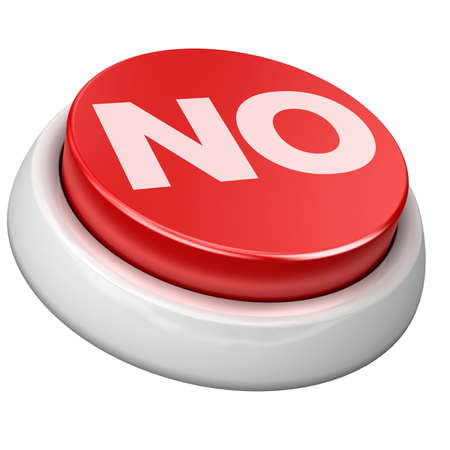 3d image of button no. White background. photo