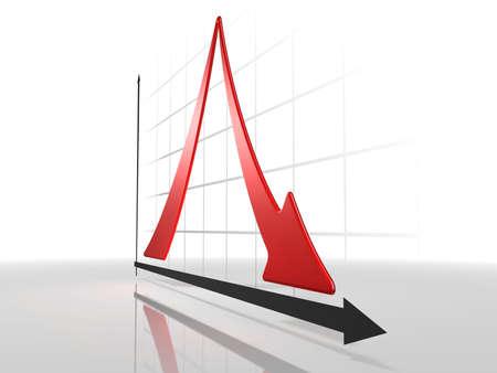 diminishing point: 3d Diagram. White background. Stock Photo