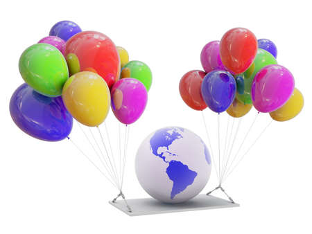 renter: Globe on color balloons Stock Photo