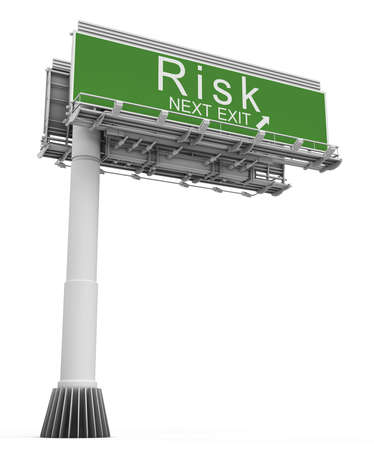 exit sign: Risk Freeway Exit Sign Stock Photo