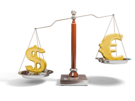 Currency on balance scale Stock Photo - 4224581