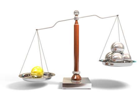 Spheres on balance scale Stock Photo - 4224572