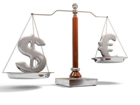 balanza en equilibrio: Sobre la balanza de divisas Foto de archivo