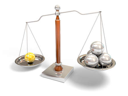 justice balance: Spheres on balance scale