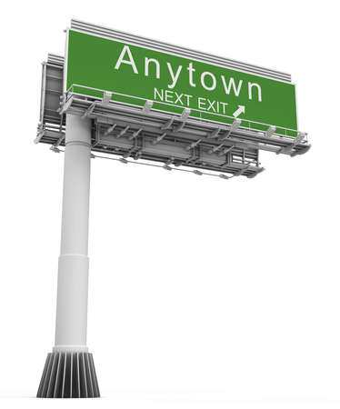 exit sign: Freeway Exit Sign anytown