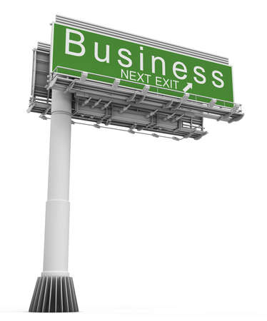exit sign: Business Freeway Exit Sign
