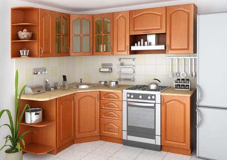 3d render of a kitchen