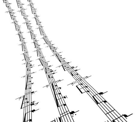sheet music: 3d music notes