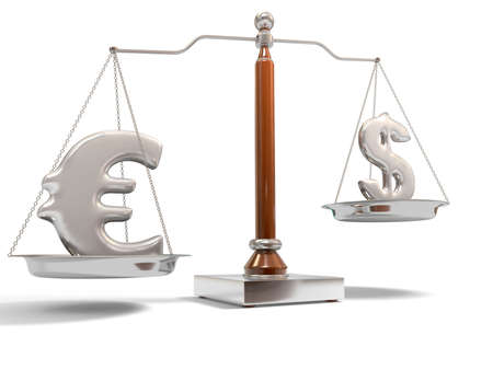 Currency on balance scale Stock Photo - 4882418