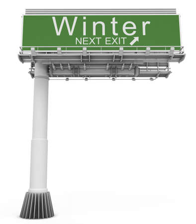 exit sign: Freeway EXIT Sign Winter Stock Photo